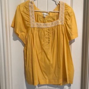Yellow Loft top with white neck detail.